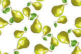 Vector seamless background with green pears.