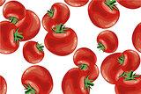 Tomato seamless pattern vector on white