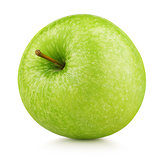 ripe green apple fruit isolated on white