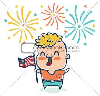 boy with flaf USA