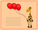 card with Cheerful giraffe. vector