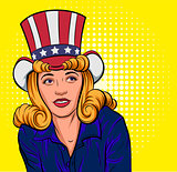 Beautiful young woman in hat of Uncle Sam