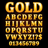Gold vector letters isolated on black background