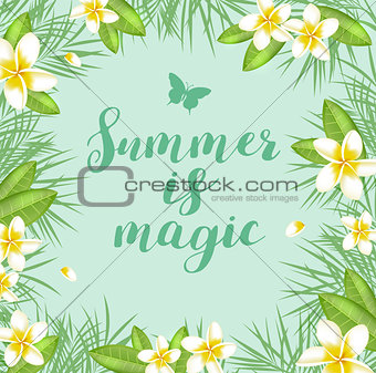 Green summer tropical background
