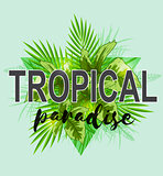 Background with green palm leaves.