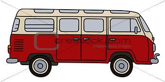 Classic dark red minibus