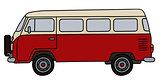 Retro red minibus