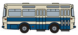 Old blue and white bus