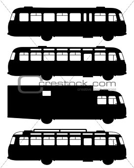 Four black silhouettes of old buses