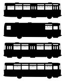Silhouettes of old buses