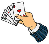 Funny poker cards in hand