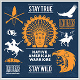 Native american indians, apache tribes set of vector emblems, labels, badges