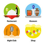 flat style entertainment icons