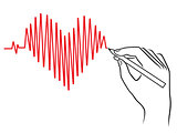 Human hand drawing a Heart pulse