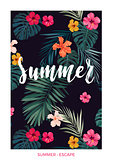 Tropical vector postcard design with bright hibiscus flowers, exotic palm leaves and lettering on dark background.