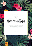 Tropical vector wedding invitation design with hibiscus flowers and exotic palm leaves on dark background.