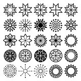 Geometric star shapes collection, lineart abstract stars icons set