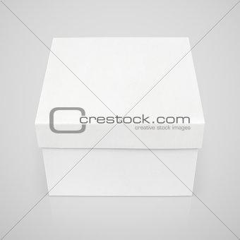 Closed square box on gray