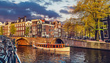 Channel in Amsterdam Netherlands houses river Amstel
