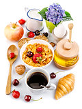 Breakfast top view fresh croissant coffee berry