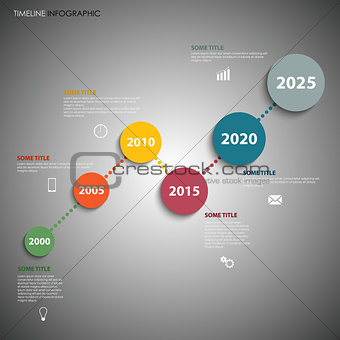 Time line info graphic with colorful simple circles template