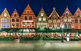 Market Square in Bruges Belgium evening landscape