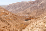 Wadi Qelt in Judean desert around St. George Orthodox Monastery