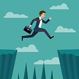 Businessman jumping over between the cliffs.