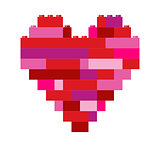 Isolated heart in building block toys