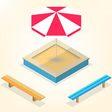 Sandbox with benches in isometric, vector illustration.