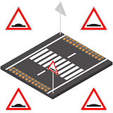 Speed bump in 3D, vector illustration.