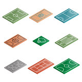 Set of icons playgrounds in isometric, vector illustration.