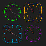 Square and round dials with arrows, vector illustration.