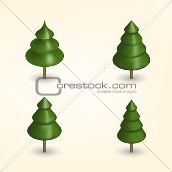 Green trees in 3D, vector illustration.
