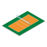Field for playing volleyball in isometric, vector illustration.