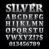 Silver vector letters isolated on black background