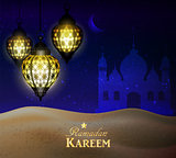 hanging lanterns in the desert at night sky