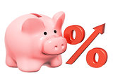 Piggy bank and percent symbol