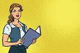 Female Secretary, pop art illustration