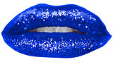 Blue Lips with Glitter