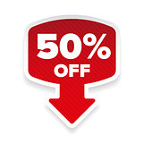 Fifty percent off sticker with arrow