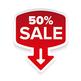 Fifty percent Sale sticker with arrow