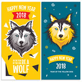 2018 New Year greeting cards with stylized dog