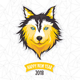 New Year greeting card with stylized dog. 2018 year