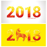 2018 new year banners with stylized dog and numbers
