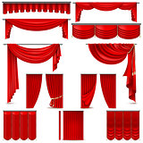 Curtains and draperies interior decoration object. EPS 10