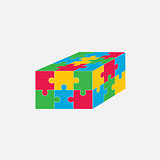 Jigsaw puzzle blank vector 3x2, six pieces