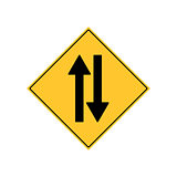 Road Sign Warning Two Way Traffic