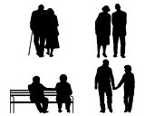 Eldery couples silhouettes