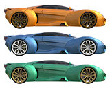 A set of three conceptual racing cars of one model of yellow, blue and green colors. Side view. 3d illustration.